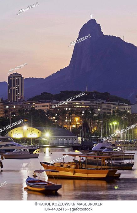 Botafogo Bay and Mount Corcovado, sunset, seen from Urca, Rio de Janeiro, Brazil