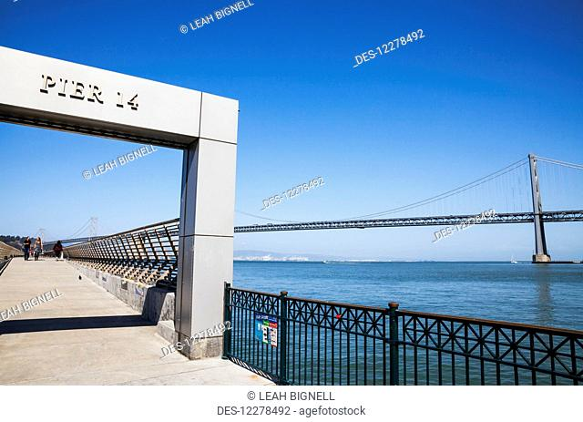 A view of the Oakland Bay Bridge from Pier 14; San Francisco, California, United States of America