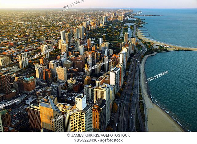 An aerial view of the Chicago Lakefront and Lake Shore Drive