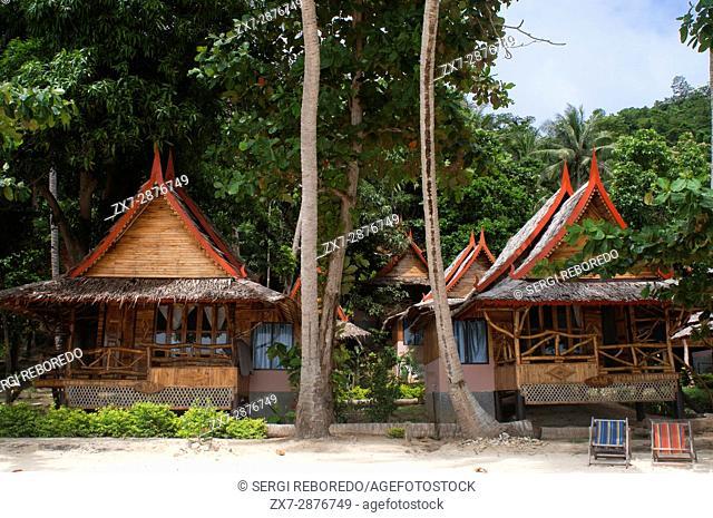 Phi Phi Relax Beach Resort cotages, Phak Nam Bay, Koh Phi Phi Island, Thailand. Asia. Phi Phi Don island. Krabi province, Andaman Sea, Thailand