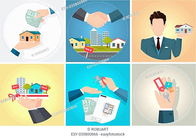 Sale purchase and rental of property. Bunch of keys in his hand. Agent or seller of real estate holding staying home. Handshake deal when buying a new home and...