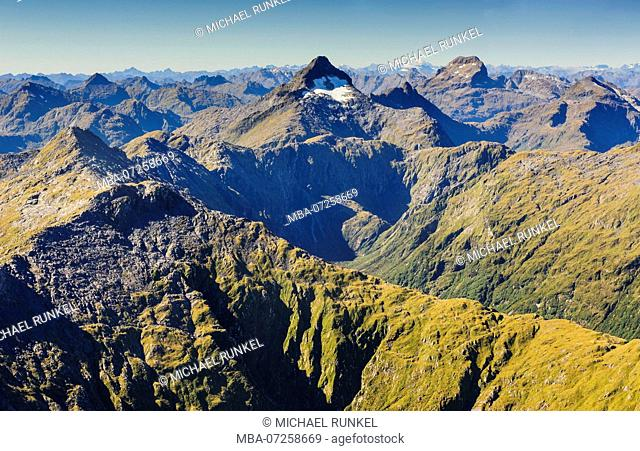 Aerial of the rugged mountains in Fjordlands, South Island, New Zealand