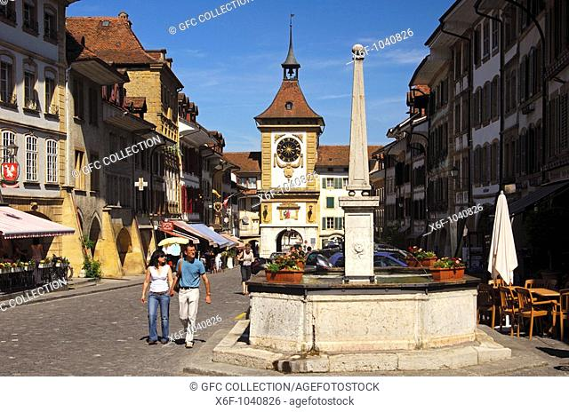 Town centre and medieval town gate Berntor, Tower of Berne, in the old town, Murten, Morat, Switzerland