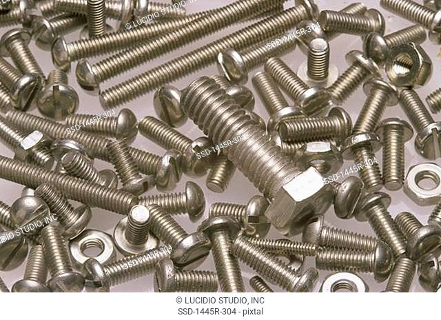 Close-up of assorted bolts