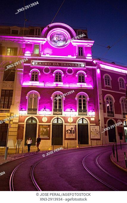 Trinity Theatre, Teatro da Trinidad, Rua or Street Nova da Trindade, Lisbon, Portugal, Europe