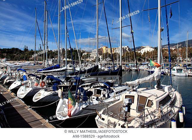 Mooring Sailboats at the Yachting Marina of Funchal, Madeira, Portugal, Europe