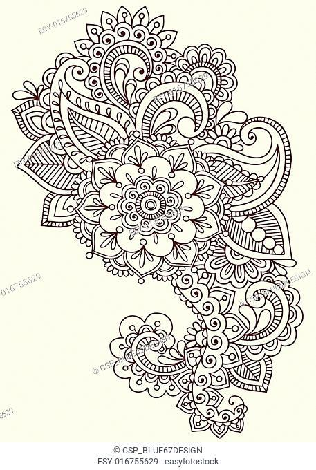 Henna Mehndi Tattoo Doodle Design