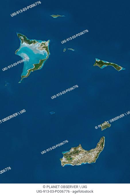 Satellite view of Bahamas Southern Islands comprising Acklins and Crooked Island, Inagua and Mayaguana. This image was compiled from data acquired by Landsat...
