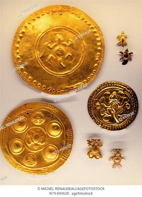 Gold objects conserved in the Pre-Columbian Gold Museum of San Jose, Costa Rica
