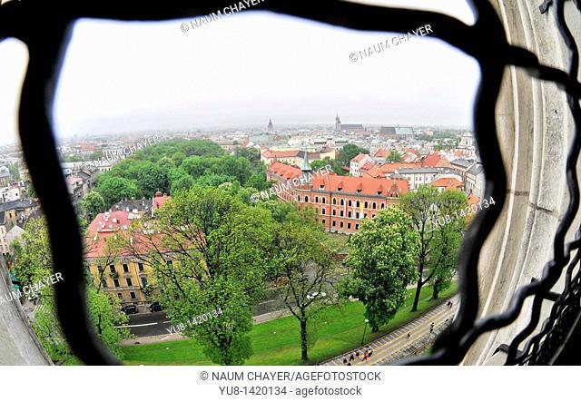 View on Krakow from Wawel Castle tower, Krakow, Poland, East Europe