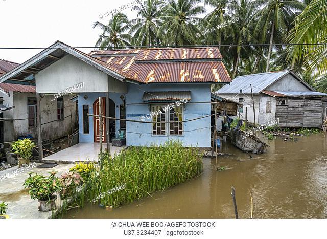 High tide in Kampung Sungai Bakau Kecil, West Kalimantan, Indonesia