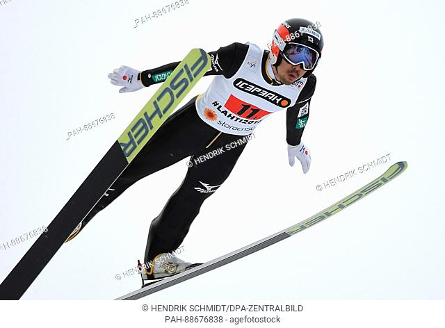 Yoshito Watabe from Japan in action during the combination large hill/2 x 7.5 km team sprint event at the Nordic Ski World Championship in Lahti, Finland