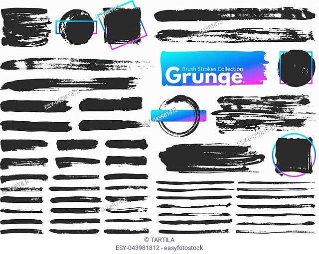 Grunge brush strokes. Watercolor paintbrush stroke line. Dirty square frames, dry messy paint brushes and decoration splatter rectangular brushed frame