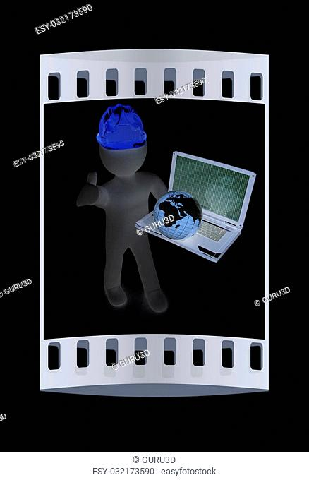 3D small people - an international engineer with the laptop and earth on a black background. The film strip