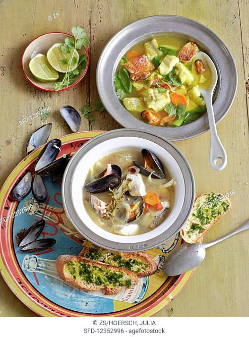 Fish soup two ways: with mussels and parsley crostini and Asian-style