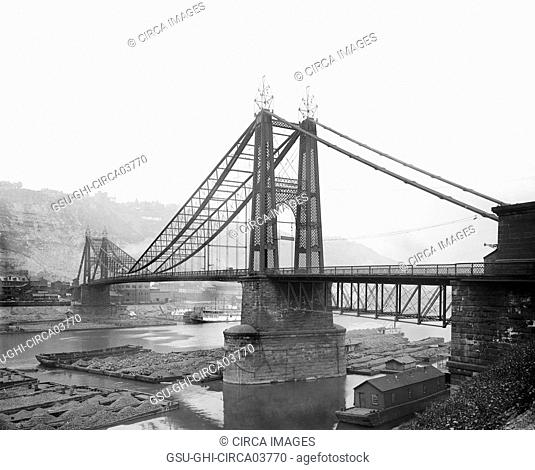 Point Bridge over Monongahela River, Pittsburgh, Pennsylvania, USA, Detroit Publishing Company, 1900