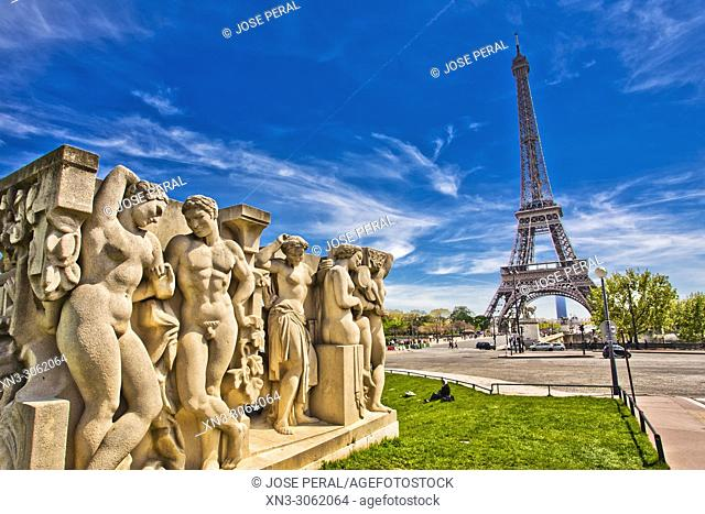 Jardins du Trocadéro, Trocadero gardens, Eiffel Tower, Tour Eiffel, Champ de Mars, Paris, France, Europe