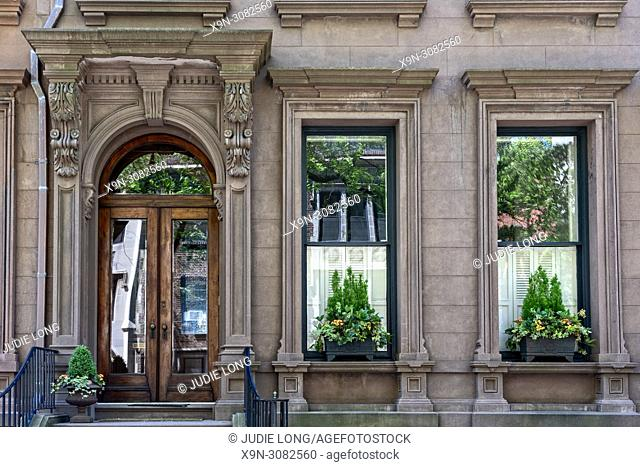 Brooklyn, NY, Brooklyb Heights, USA. Looking Up at an Elegant Brownstone Townhouse