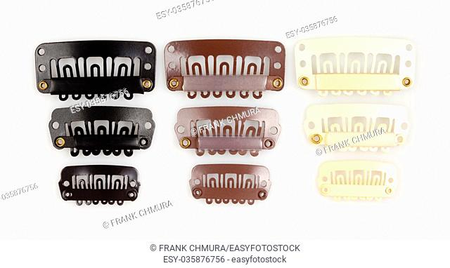 Women's Plastic Hair Clips Isolated on White