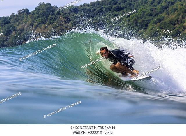 Indonesia, Java, surfing man