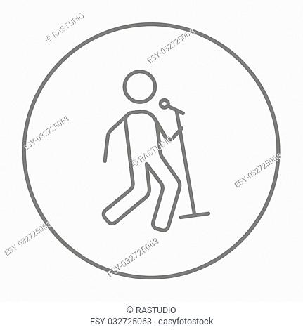Man singing with microphone line icon for web, mobile and infographics. Vector grey thin line icon in the circle isolated on white background
