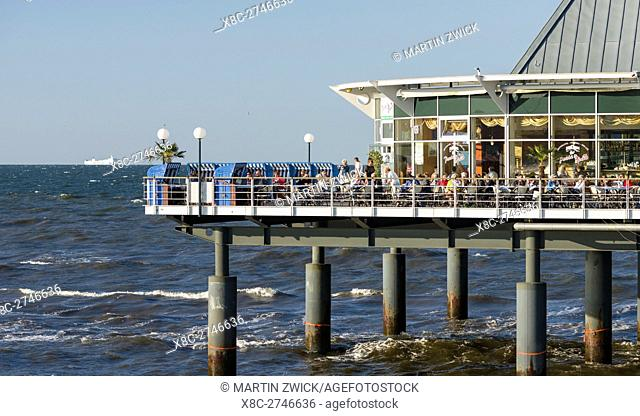 The Pier. German resort architecture (Baederarchitektur) in the seaside resort Heringsdorf on the island of Usedom. Europe,Germany