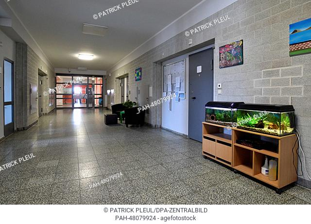 View of a hallway with the individual living quarters of the inmates at the preventive detention section of prison JVA Brandenburg in Brandenbrug and der Havel