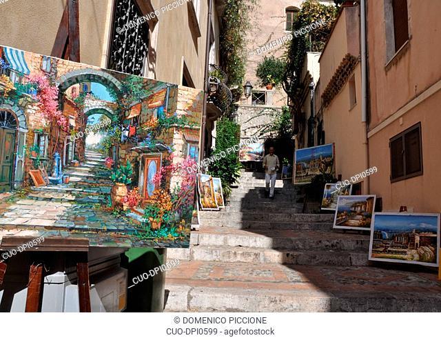 Taormina, Exhibition of paintings, Messina, Sicily, Italy, Europe