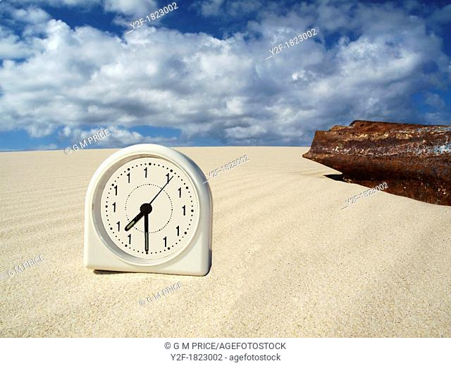 nightmare clock with rusty corrugated iron on sand