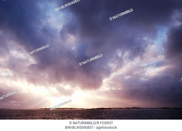 dark clouds over the sea, Norway, Lofoten, Roest