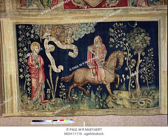 La Tenture de l'Apocalypse d'Angers, Troisième sceau : le cheval noir et la famine 1,56 x 2,50m, Das dritte Siegel: Das schwarze Pferd