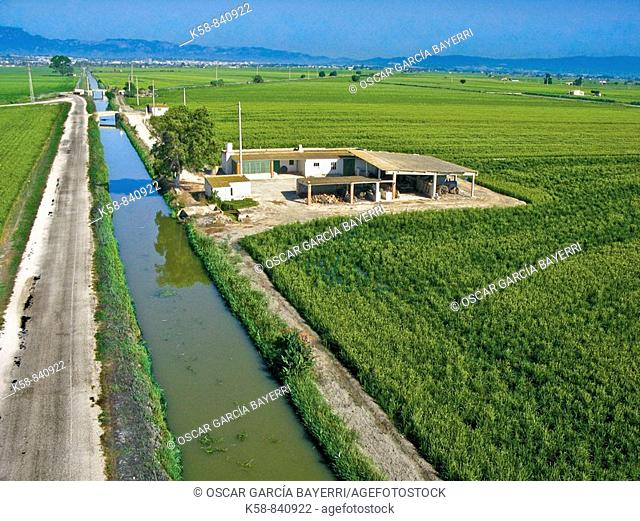 Aerial view of rice fields in Ebro Delta and irrigation canal