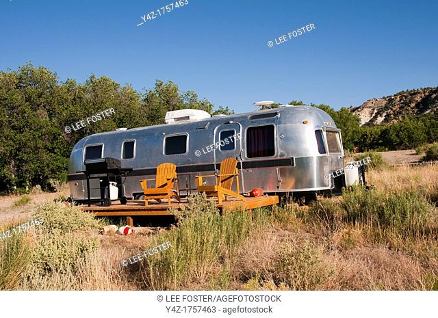 USA, Utah, classic Airstream travel trailers available as lodging at the Shooting Star Drive-In in Escalante
