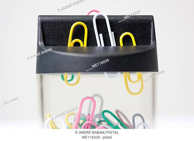 Close up of magnetic paper clip dispenser