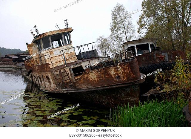 blasted rusty boat