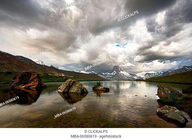 Europe, swiss, zermatt, Stellisee lake, Matterhorn