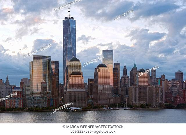 Lower Manhattan Skyline in early morning light with World Trade Center and World Financial Center at Hudson River, New York City, USA
