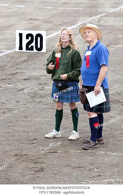 Judges at the Sheaf Toss Event at the 66th Annual Pacific Northwest Scottish Highland Games and Clan Gathering - Enumclaw, Washington