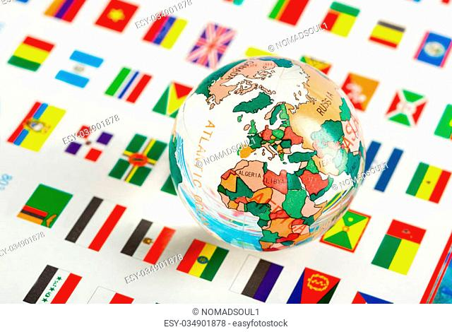 Glass globe on the flags of the countries