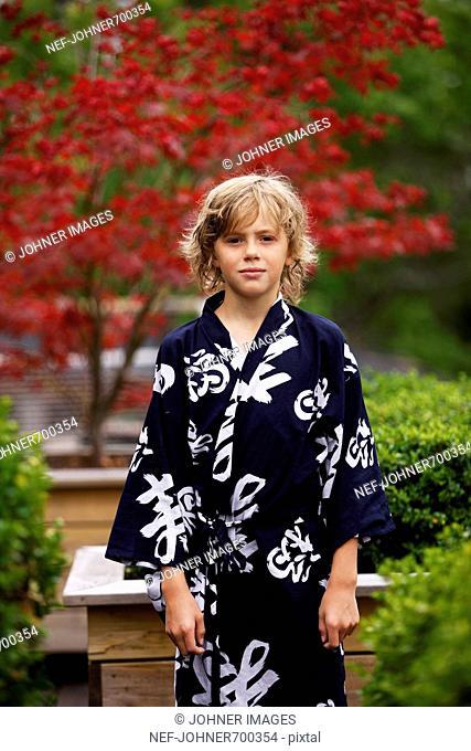 A boy wearing a kimono, Sweden