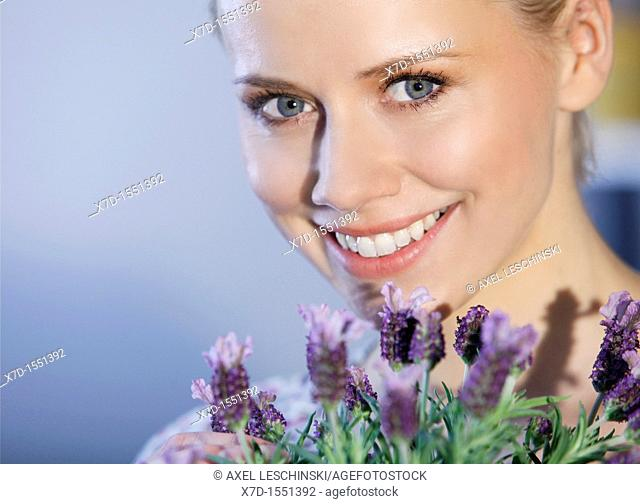 woman with lavender