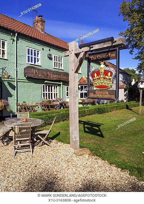 The Crown Inn 16th Century coaching inn at Roecliffe village near Boroughbridge North Yorkshire England