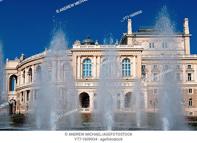 Opera House with fountains in the city of Odessa, Ukraine