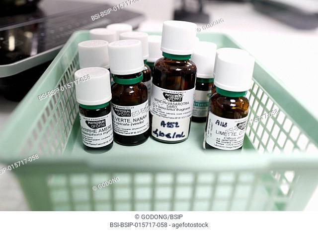 Pharmacy. Essential oils in glass bottles. France