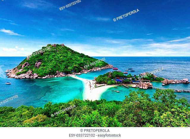 Beautiful white sand beach of Koh Tao, Thailand