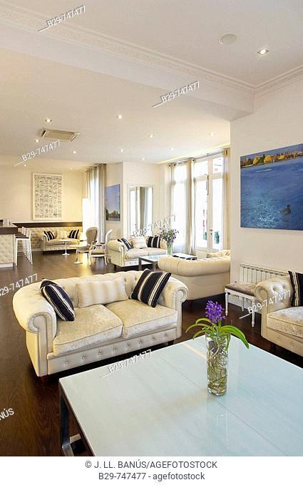 Hall in Villa Paulita hotel. Girona province, Catalonia, Spain