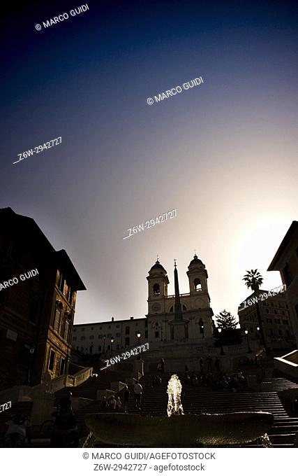 The plaza of Spain Rome Italia photographed in silhouette to the morning