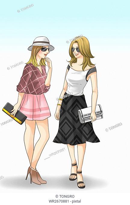 Two young fashionable women