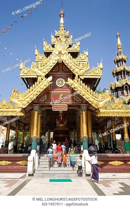 Building housing the Bell of King Tharrawaddy, Shwedagon Pagoda, Yangon, (Rangoon), Myanmar, (Burma)