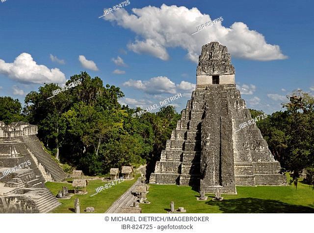 Maya ruins, Tikal, view of Temple I, Yucatan, Guatemala, Central America